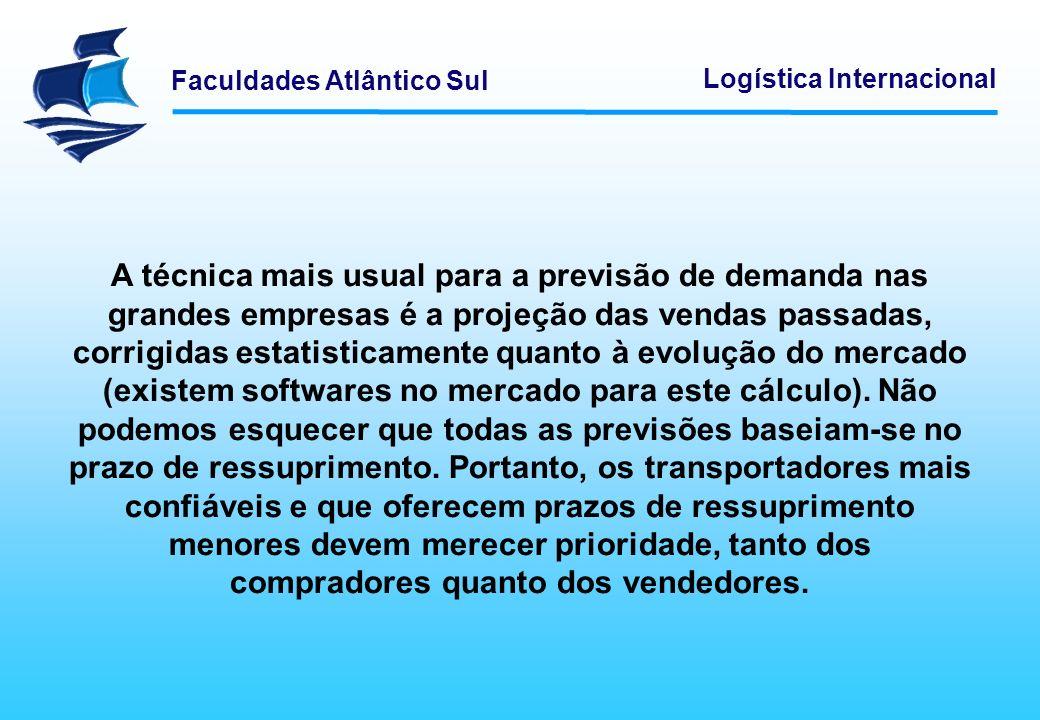 Faculdades Atlântico Sul Logística Internacional A técnica mais usual para a previsão de demanda nas grandes empresas é a projeção das vendas passadas