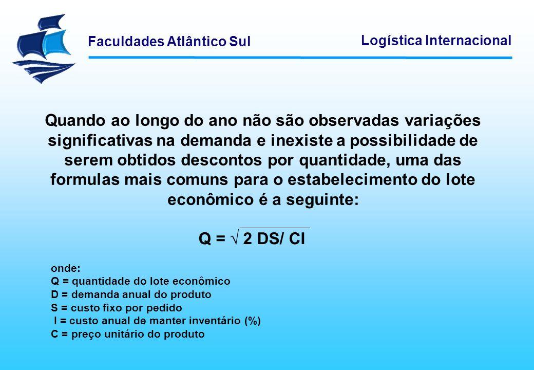 Faculdades Atlântico Sul Logística Internacional Quando ao longo do ano não são observadas variações significativas na demanda e inexiste a possibilid