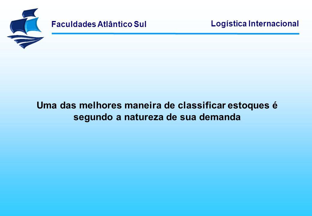 Faculdades Atlântico Sul Logística Internacional Uma das melhores maneira de classificar estoques é segundo a natureza de sua demanda