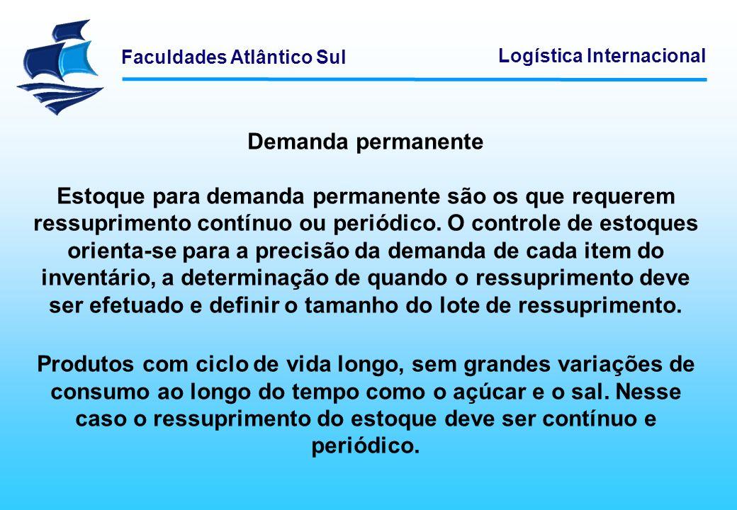 Faculdades Atlântico Sul Logística Internacional Demanda permanente Estoque para demanda permanente são os que requerem ressuprimento contínuo ou peri