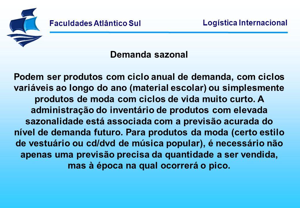 Faculdades Atlântico Sul Logística Internacional Demanda sazonal Podem ser produtos com ciclo anual de demanda, com ciclos variáveis ao longo do ano (