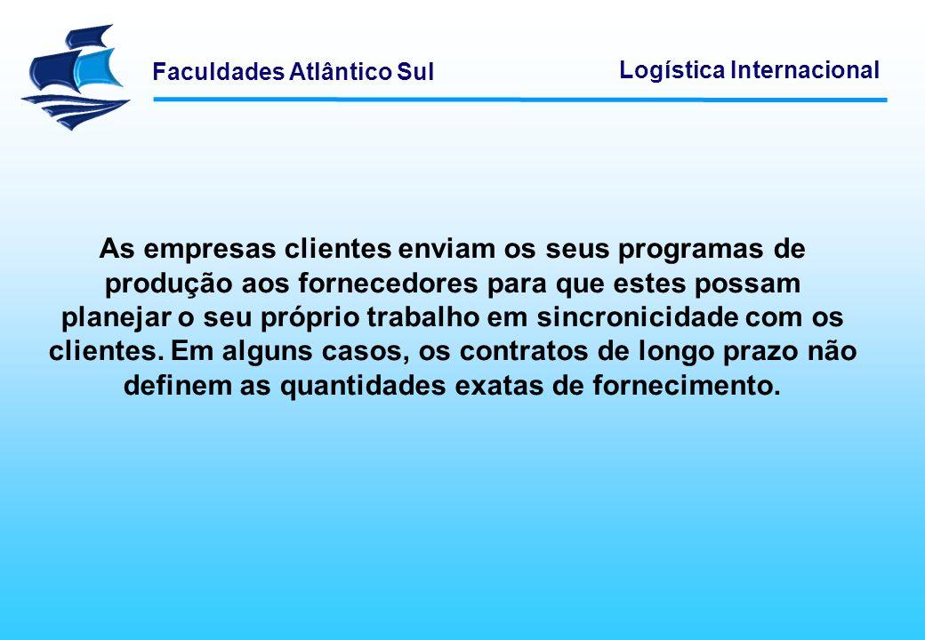 Faculdades Atlântico Sul Logística Internacional As empresas clientes enviam os seus programas de produção aos fornecedores para que estes possam plan