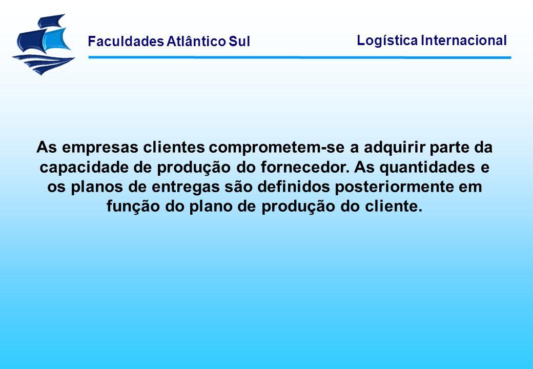 Faculdades Atlântico Sul Logística Internacional As empresas clientes comprometem-se a adquirir parte da capacidade de produção do fornecedor. As quan