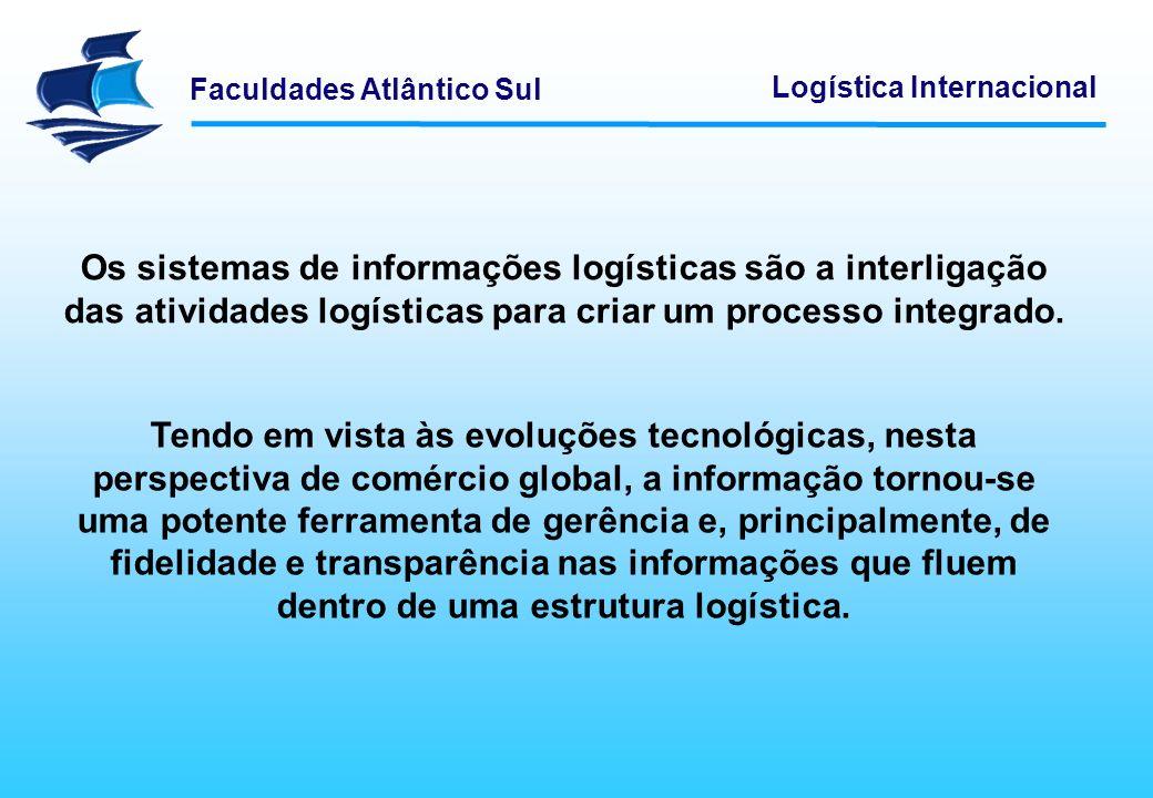 Faculdades Atlântico Sul Logística Internacional Os sistemas de informações logísticas são a interligação das atividades logísticas para criar um proc