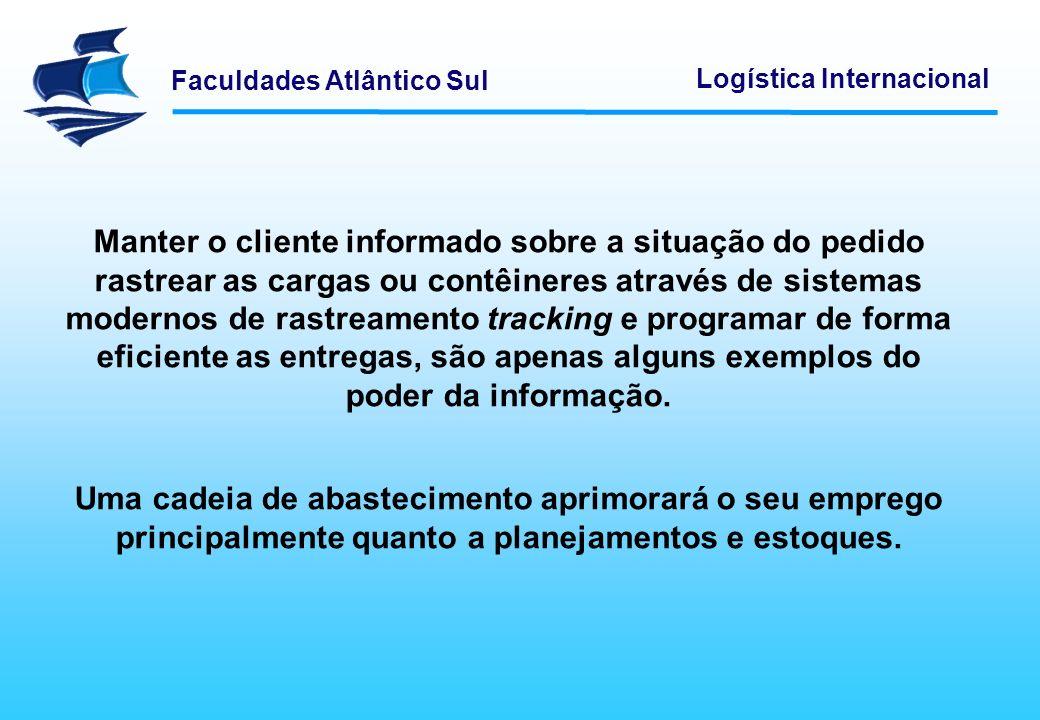 Faculdades Atlântico Sul Logística Internacional A funcionalidade da informações e seu gerenciamento permitem uma integração de toda cadeia facilitando assim todo o controle gerencial.