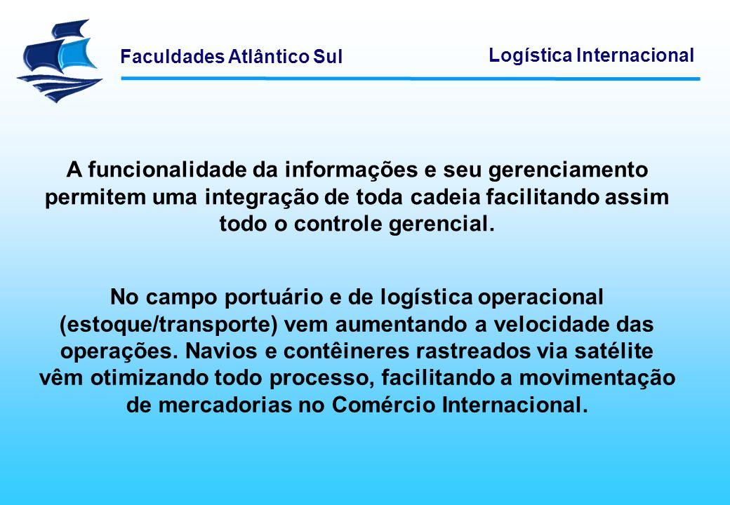 Faculdades Atlântico Sul Logística Internacional A Tecnologia da Informação permite que os usuários e clientes (exportadores e importadores) consigam acompanhar a carga desde a sua origem até seu destino.