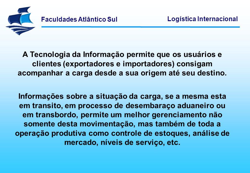 Faculdades Atlântico Sul Logística Internacional A TI no Comércio Internacional permite um gerenciamento estratégico em toda Cadeia Logística, reduzindo redundâncias, agilizando todo o processo e, sobretudo, aumentando a competitividade.