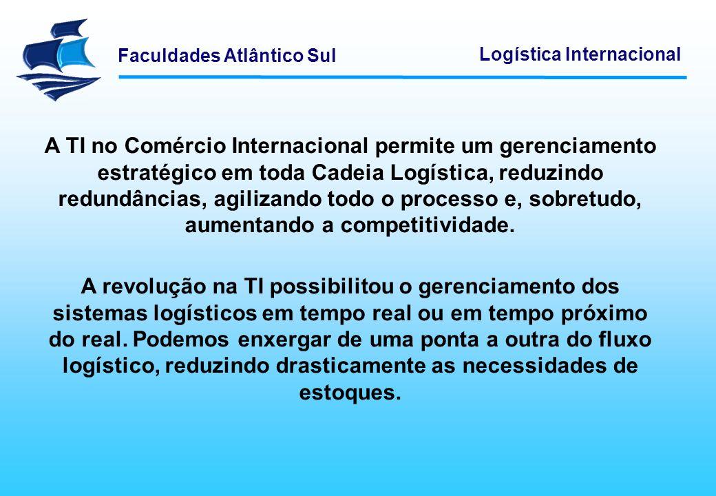 Faculdades Atlântico Sul Logística Internacional A TI no Comércio Internacional permite um gerenciamento estratégico em toda Cadeia Logística, reduzin