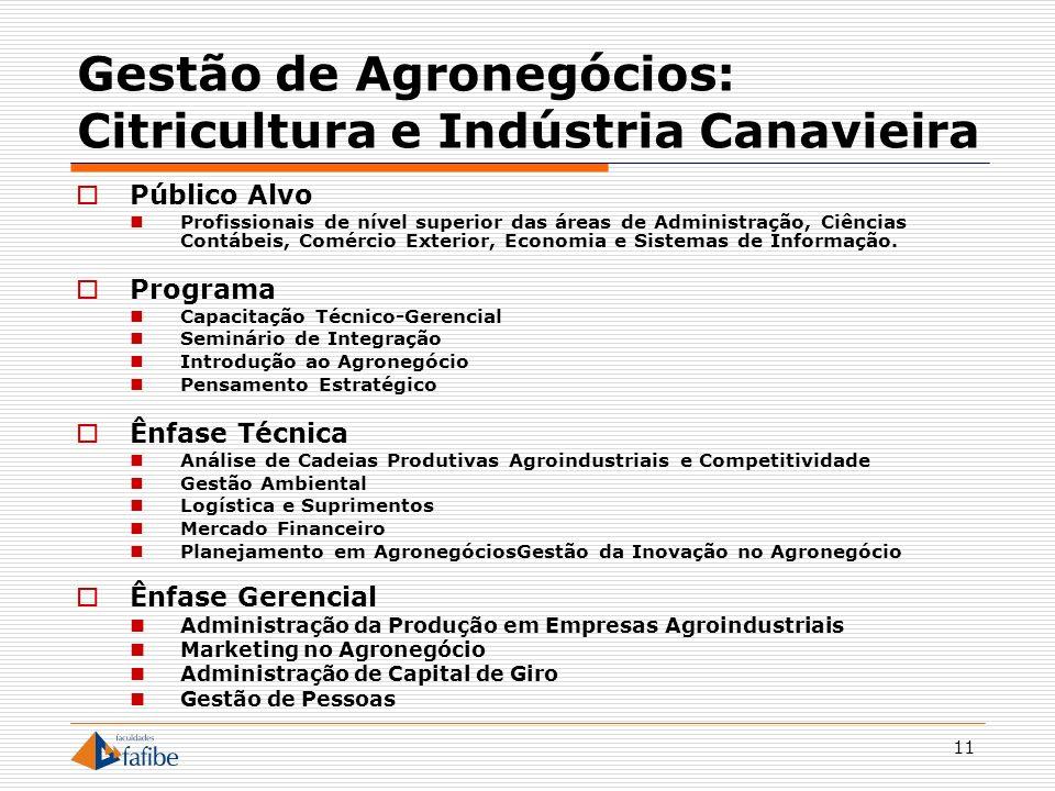 11 Gestão de Agronegócios: Citricultura e Indústria Canavieira Público Alvo Profissionais de nível superior das áreas de Administração, Ciências Contá
