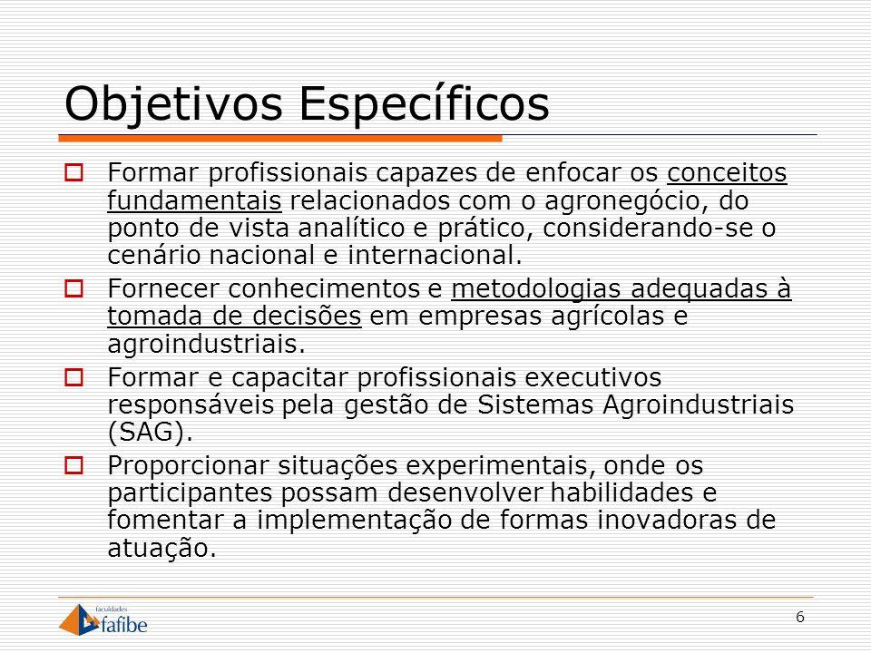 6 Objetivos Específicos Formar profissionais capazes de enfocar os conceitos fundamentais relacionados com o agronegócio, do ponto de vista analítico