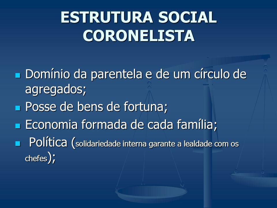 ESTRUTURA SOCIAL CORONELISTA Domínio da parentela e de um círculo de agregados; Domínio da parentela e de um círculo de agregados; Posse de bens de fo