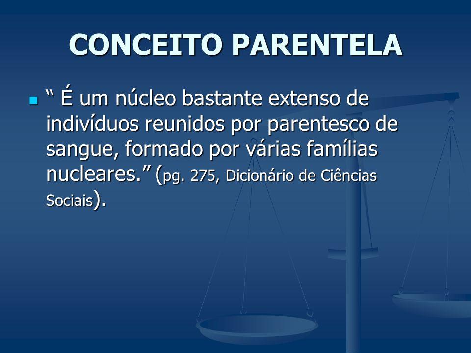 CONCEITO PARENTELA É um núcleo bastante extenso de indivíduos reunidos por parentesco de sangue, formado por várias famílias nucleares. ( pg. 275, Dic