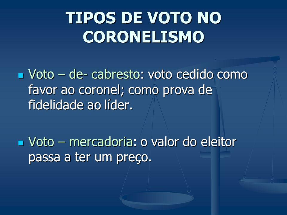 TIPOS DE VOTO NO CORONELISMO Voto – de- cabresto: voto cedido como favor ao coronel; como prova de fidelidade ao líder. Voto – de- cabresto: voto cedi