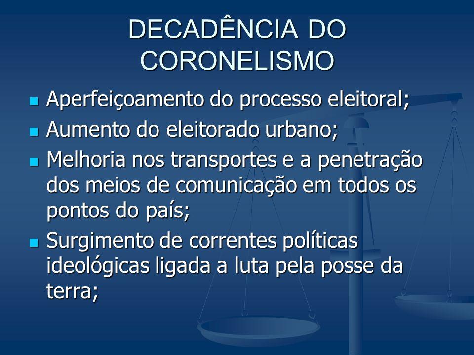 DECADÊNCIA DO CORONELISMO Aperfeiçoamento do processo eleitoral; Aperfeiçoamento do processo eleitoral; Aumento do eleitorado urbano; Aumento do eleit