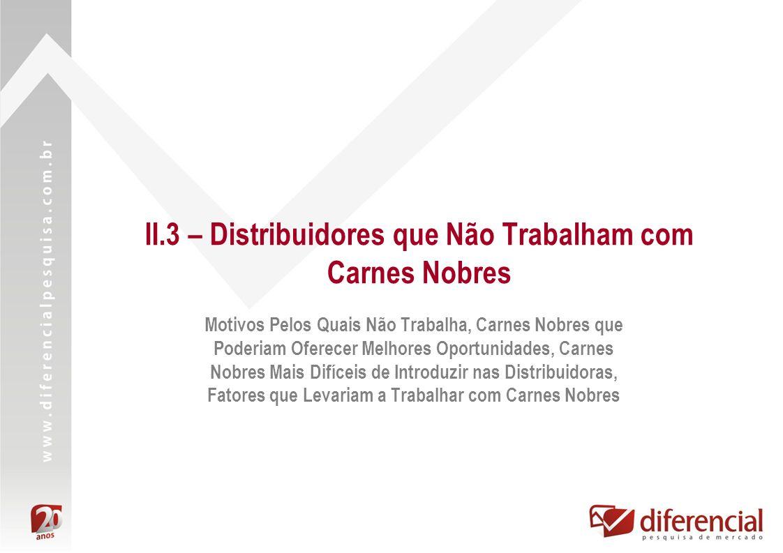 II.3 – Distribuidores que Não Trabalham com Carnes Nobres Motivos Pelos Quais Não Trabalha, Carnes Nobres que Poderiam Oferecer Melhores Oportunidades