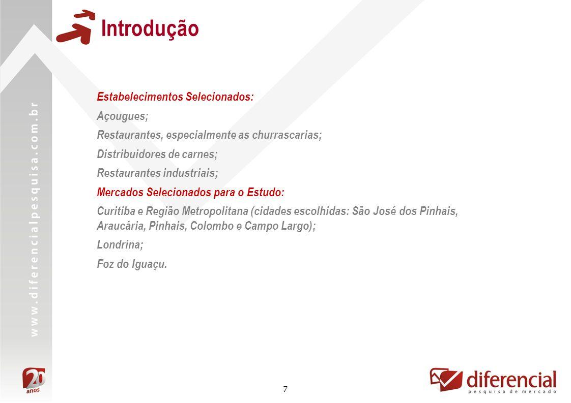 7 Introdução Estabelecimentos Selecionados: Açougues; Restaurantes, especialmente as churrascarias; Distribuidores de carnes; Restaurantes industriais