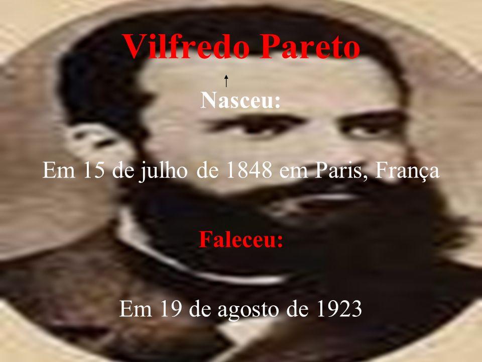 Vilfredo Pareto Nasceu: Em 15 de julho de 1848 em Paris, França Faleceu: Em 19 de agosto de 1923