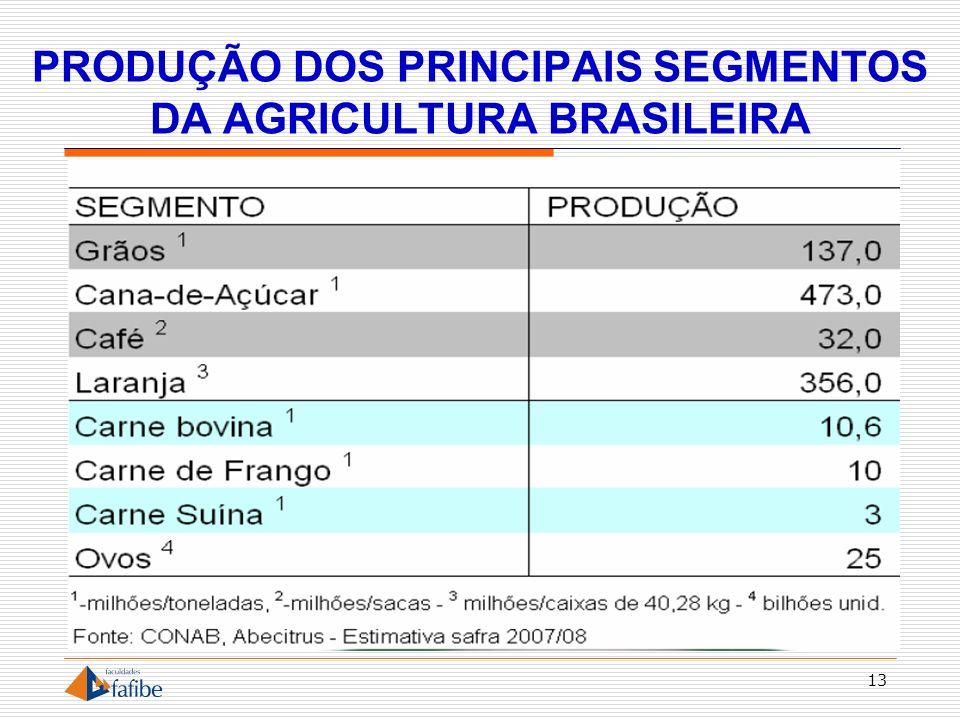 PRODUÇÃO DOS PRINCIPAIS SEGMENTOS DA AGRICULTURA BRASILEIRA 13
