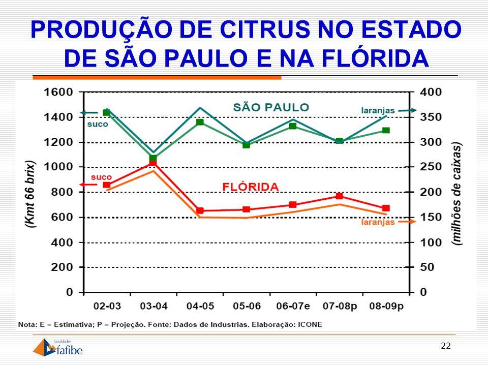 PRODUÇÃO DE CITRUS NO ESTADO DE SÃO PAULO E NA FLÓRIDA 22