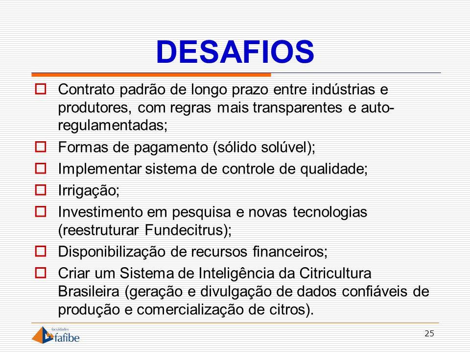 DESAFIOS Contrato padrão de longo prazo entre indústrias e produtores, com regras mais transparentes e auto- regulamentadas; Formas de pagamento (sóli