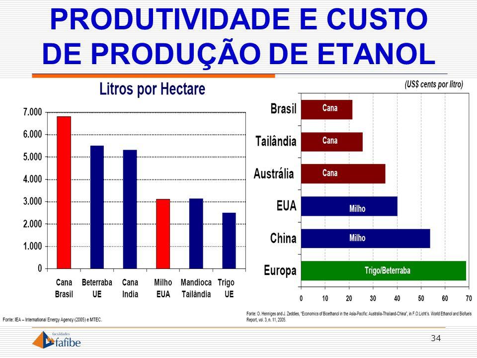 PRODUTIVIDADE E CUSTO DE PRODUÇÃO DE ETANOL 34