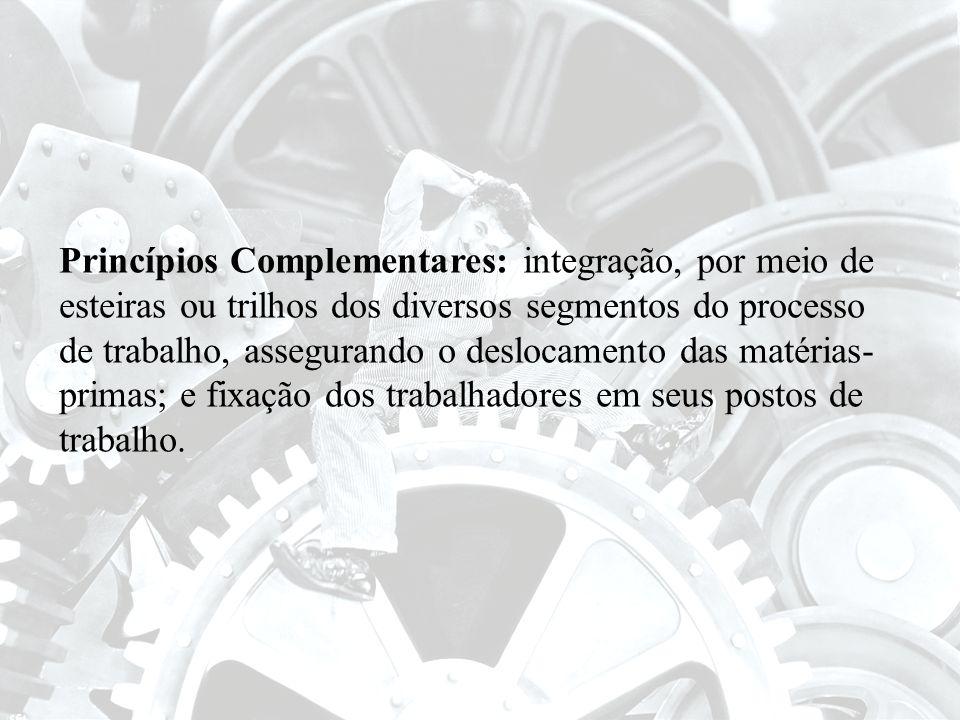 Princípios Complementares: integração, por meio de esteiras ou trilhos dos diversos segmentos do processo de trabalho, assegurando o deslocamento das