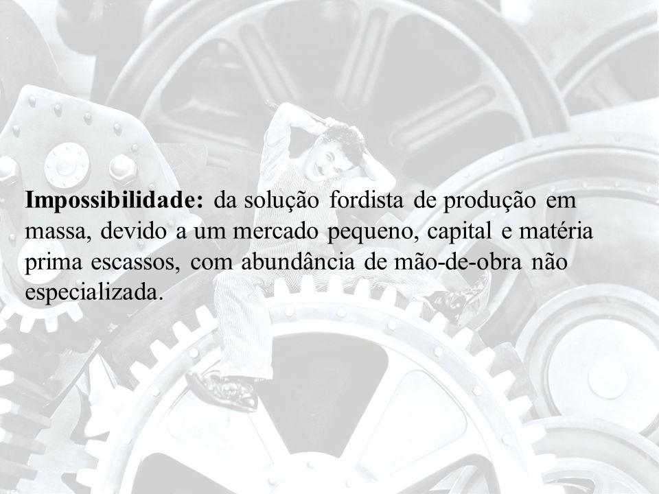 Impossibilidade: da solução fordista de produção em massa, devido a um mercado pequeno, capital e matéria prima escassos, com abundância de mão-de-obr