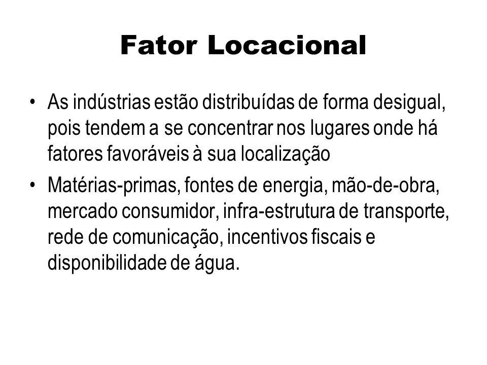 Fator Locacional As indústrias estão distribuídas de forma desigual, pois tendem a se concentrar nos lugares onde há fatores favoráveis à sua localiza