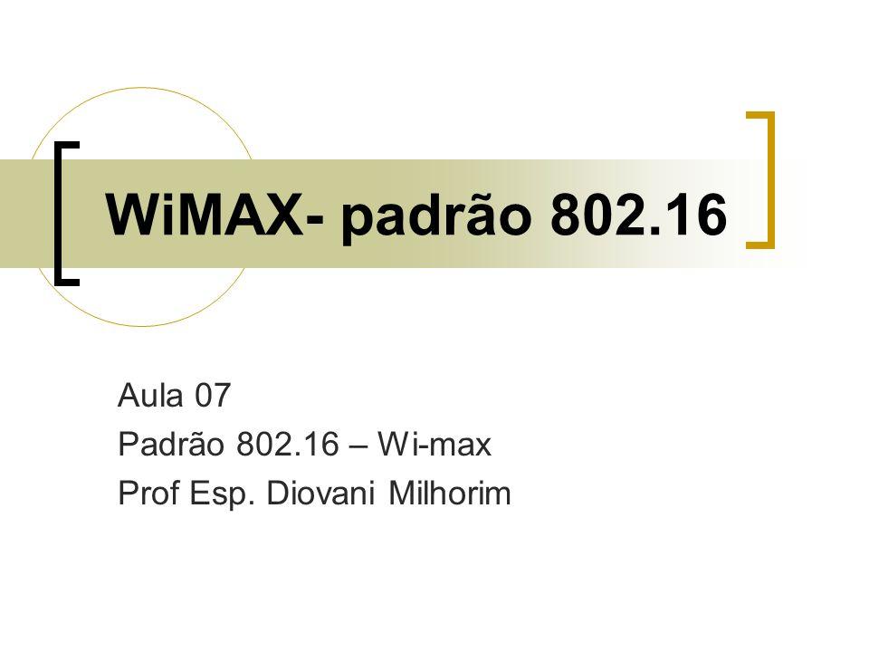 WiMAX- padrão 802.16 Aula 07 Padrão 802.16 – Wi-max Prof Esp. Diovani Milhorim