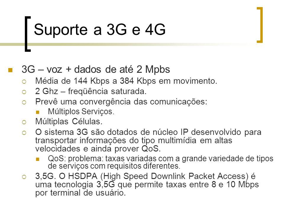 Suporte a 3G e 4G 3G – voz + dados de até 2 Mpbs Média de 144 Kbps a 384 Kbps em movimento. 2 Ghz – freqüência saturada. Prevê uma convergência das co