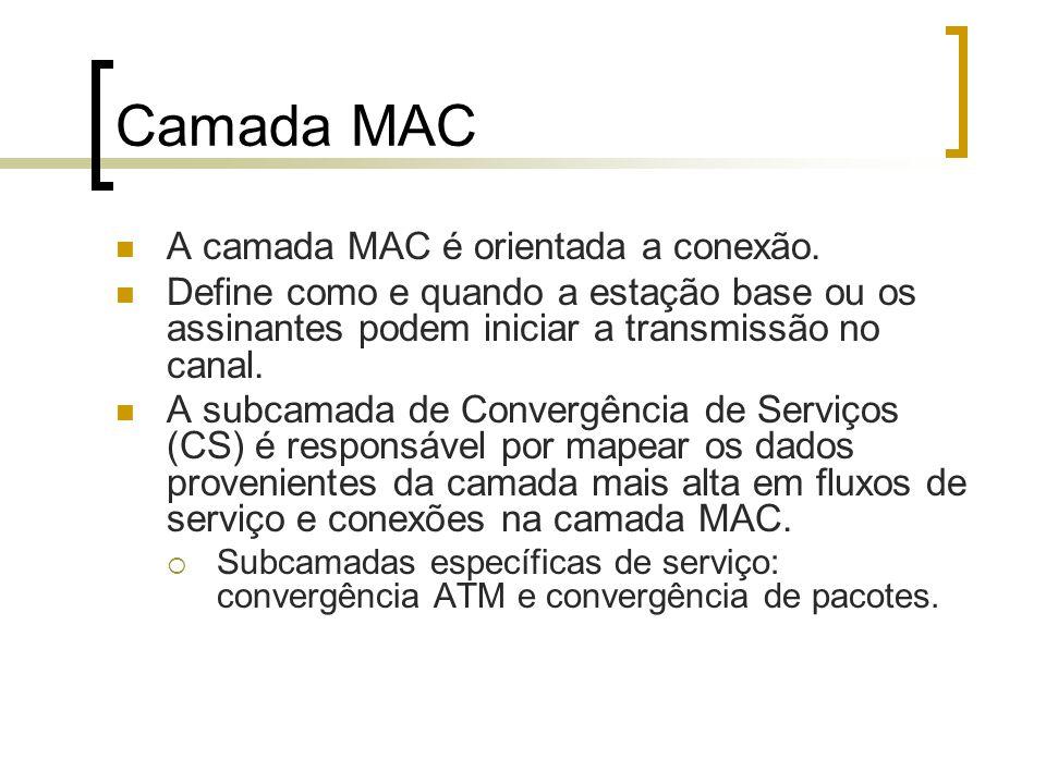 Camada MAC A camada MAC é orientada a conexão. Define como e quando a estação base ou os assinantes podem iniciar a transmissão no canal. A subcamada