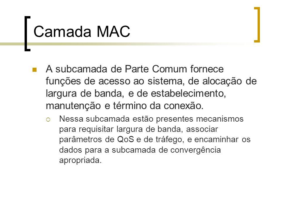 Camada MAC A subcamada de Parte Comum fornece funções de acesso ao sistema, de alocação de largura de banda, e de estabelecimento, manutenção e términ