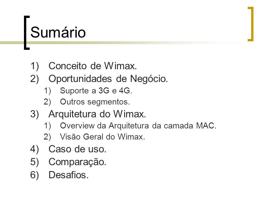 Sumário 1)Conceito de Wimax. 2)Oportunidades de Negócio. 1)Suporte a 3G e 4G. 2)Outros segmentos. 3)Arquitetura do Wimax. 1)Overview da Arquitetura da