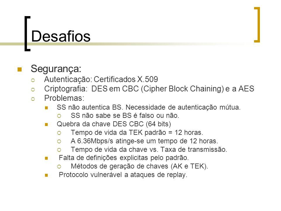 Desafios Segurança: Autenticação: Certificados X.509 Criptografia: DES em CBC (Cipher Block Chaining) e a AES Problemas: SS não autentica BS. Necessid