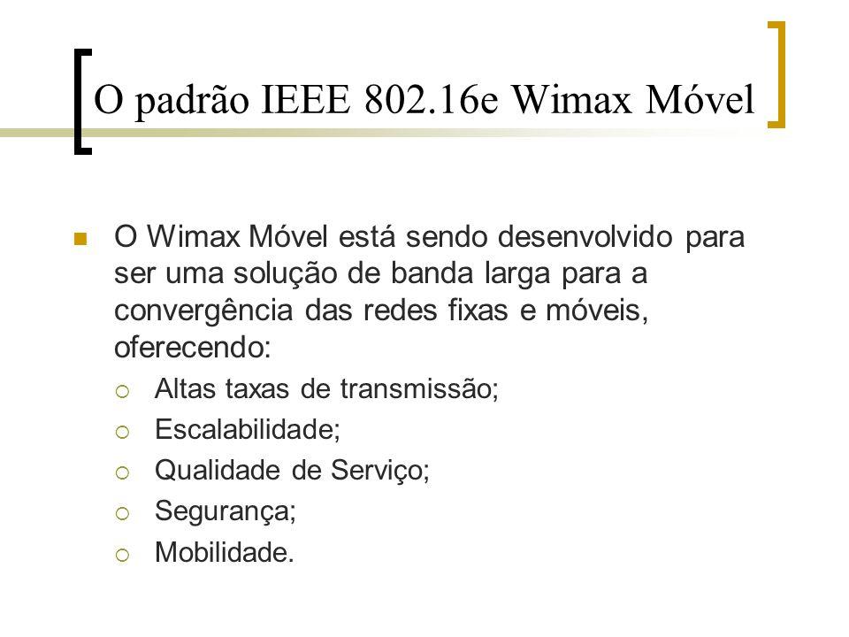 O Wimax Móvel está sendo desenvolvido para ser uma solução de banda larga para a convergência das redes fixas e móveis, oferecendo: Altas taxas de tra