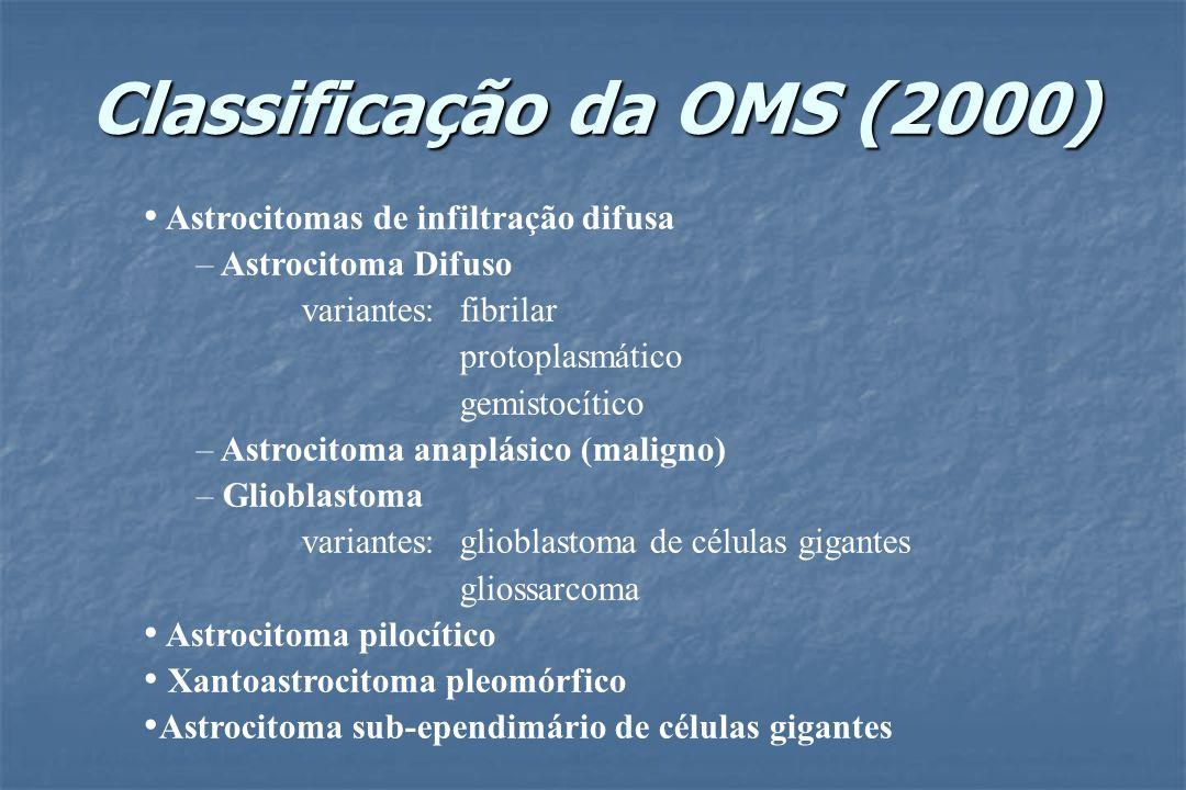 Classificação da OMS (2000) Astrocitomas de infiltração difusa – Astrocitoma Difuso variantes: fibrilar protoplasmático gemistocítico – Astrocitoma an