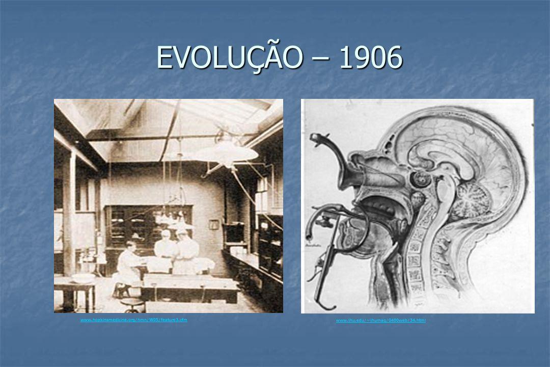 EVOLUÇÃO – 1906 www.hopkinsmedicine.org/hmn/W05/feature3.cfm www.jhu.edu/~jhumag/0400web/34.html