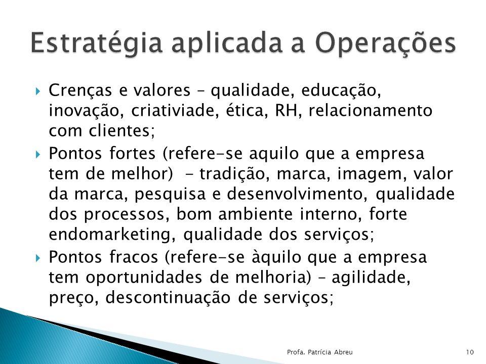 Crenças e valores – qualidade, educação, inovação, criativiade, ética, RH, relacionamento com clientes; Pontos fortes (refere-se aquilo que a empresa