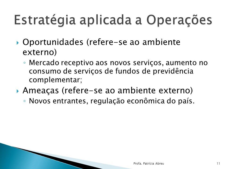 Oportunidades (refere-se ao ambiente externo) Mercado receptivo aos novos serviços, aumento no consumo de serviços de fundos de previdência complement