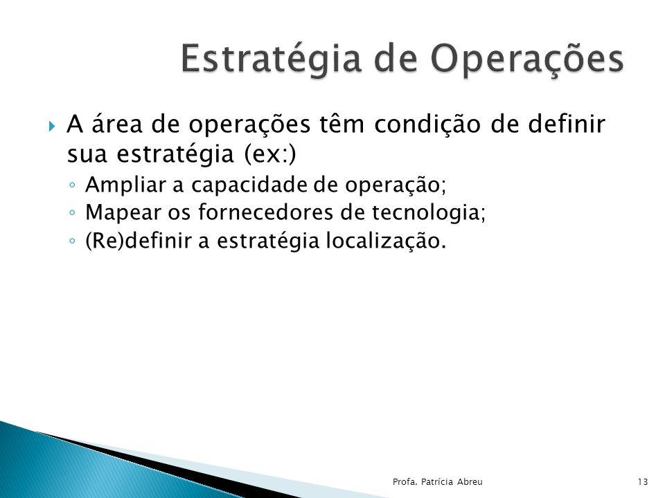 A área de operações têm condição de definir sua estratégia (ex:) Ampliar a capacidade de operação; Mapear os fornecedores de tecnologia; (Re)definir a