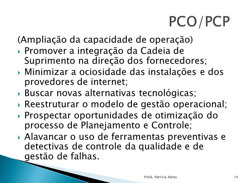 (Ampliação da capacidade de operação) Promover a integração da Cadeia de Suprimento na direção dos fornecedores; Minimizar a ociosidade das instalaçõe