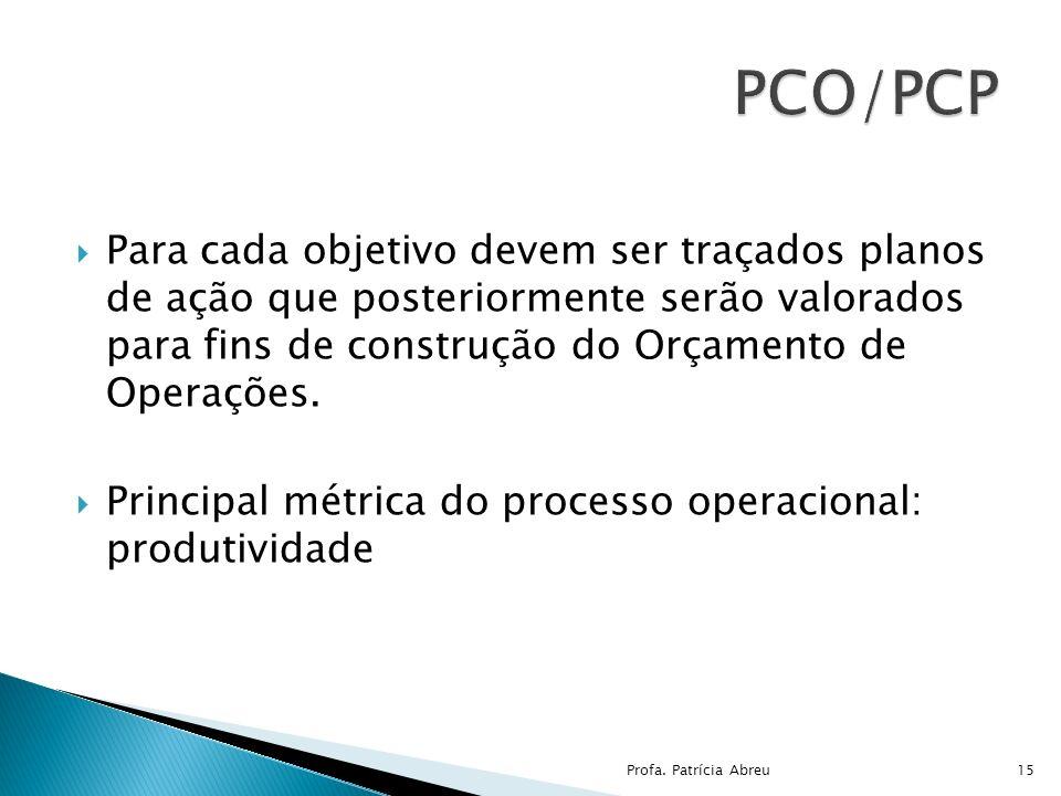 Para cada objetivo devem ser traçados planos de ação que posteriormente serão valorados para fins de construção do Orçamento de Operações. Principal m