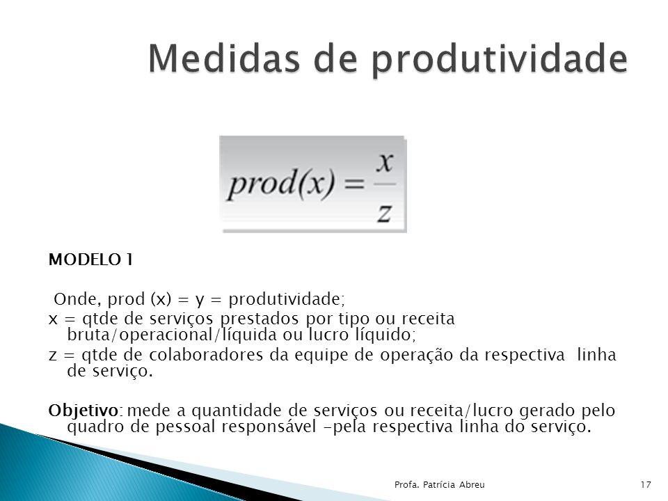 MODELO 1 Onde, prod (x) = y = produtividade; x = qtde de serviços prestados por tipo ou receita bruta/operacional/líquida ou lucro líquido; z = qtde d