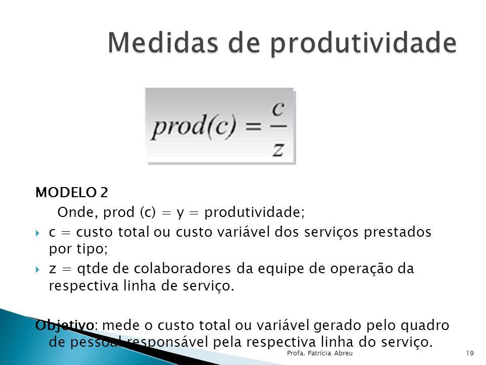 MODELO 2 Onde, prod (c) = y = produtividade; c = custo total ou custo variável dos serviços prestados por tipo; z = qtde de colaboradores da equipe de