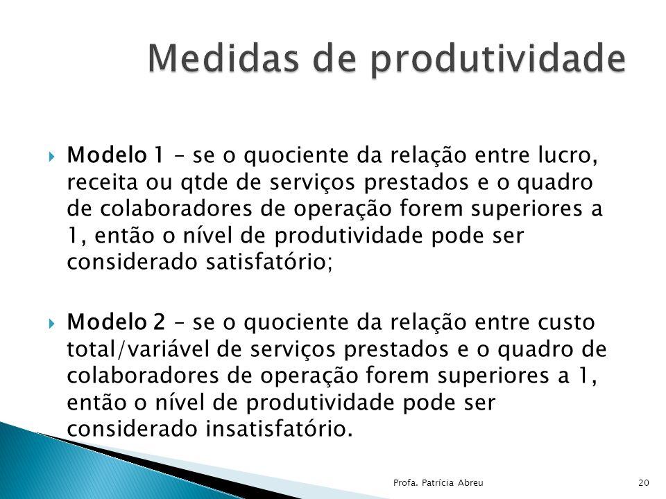 Modelo 1 – se o quociente da relação entre lucro, receita ou qtde de serviços prestados e o quadro de colaboradores de operação forem superiores a 1,