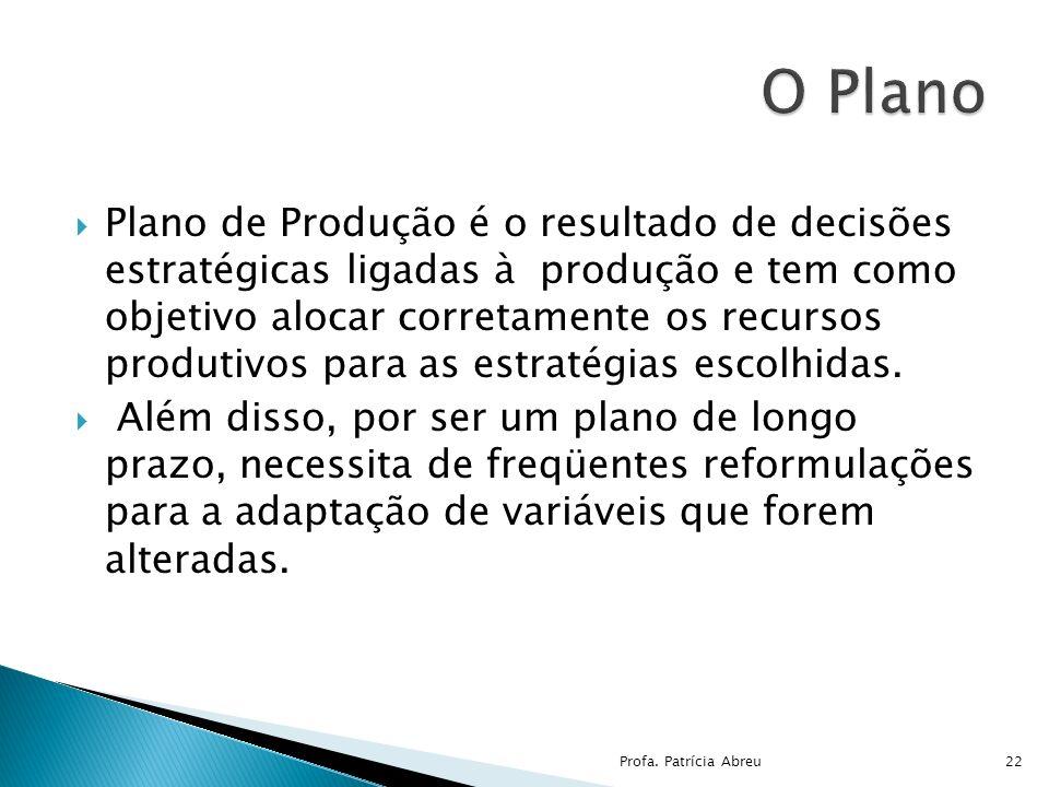 Plano de Produção é o resultado de decisões estratégicas ligadas à produção e tem como objetivo alocar corretamente os recursos produtivos para as est