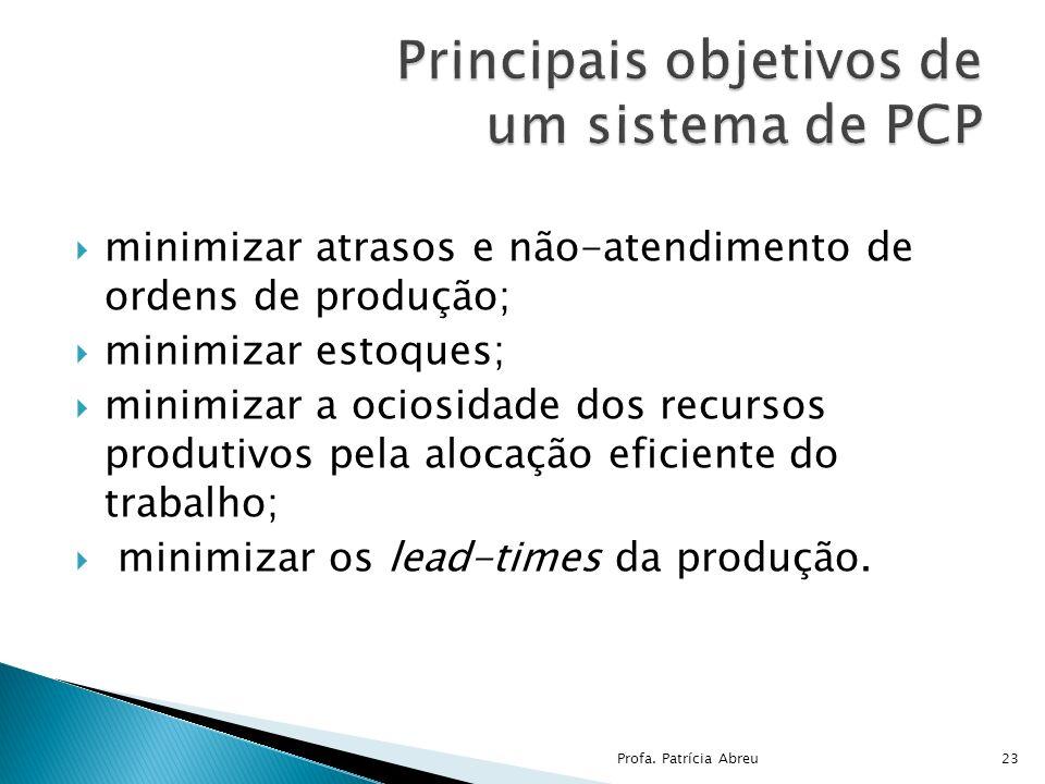minimizar atrasos e não-atendimento de ordens de produção; minimizar estoques; minimizar a ociosidade dos recursos produtivos pela alocação eficiente