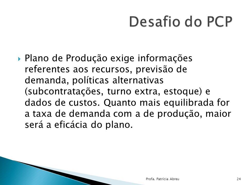 Plano de Produção exige informações referentes aos recursos, previsão de demanda, políticas alternativas (subcontratações, turno extra, estoque) e dad