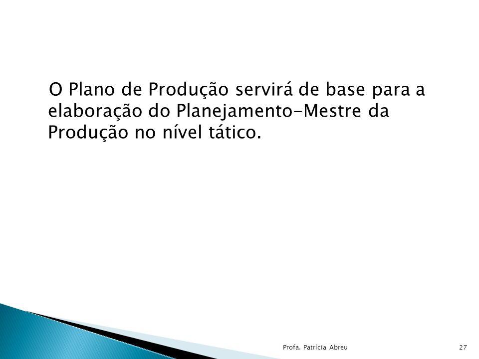 O Plano de Produção servirá de base para a elaboração do Planejamento-Mestre da Produção no nível tático. 27Profa. Patrícia Abreu