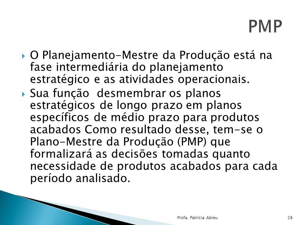 O Planejamento-Mestre da Produção está na fase intermediária do planejamento estratégico e as atividades operacionais. Sua função desmembrar os planos